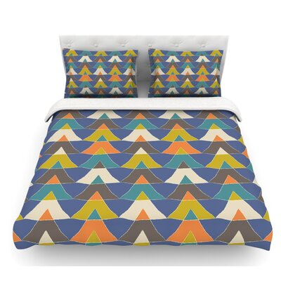 Colorful Triangles by Julia Grifol Featherweight Duvet Cover Size: Queen