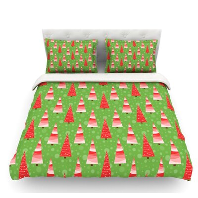 Juniper by Julie Hamilton Christmas Trees Featherweight Duvet Cover Size: Queen
