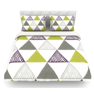 Textured Triangles by Laurie Baars Featherweight Duvet Cover Color: Green/Gray/White, Size: Queen, Fabric: Lightweight Polyester