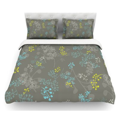 Ferns Vines by Laurie Baars Fatherweight Duvet Cover Color: Green/Brown/Aqua, Size: King