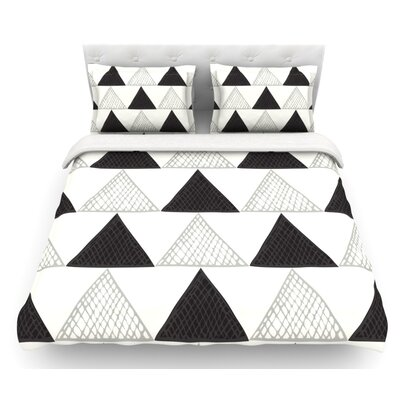 Textured Triangles by Laurie Baars Featherweight Duvet Cover Color: White/Black, Size: Twin, Fabric: Cotton