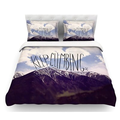 Keep Climbing by Leah Flores Mountain Quote Featherweight Duvet Cover Size: Twin