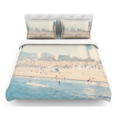 Santa Monica Beach by Laura Evans Featherweight Duvet Cover Size: Queen