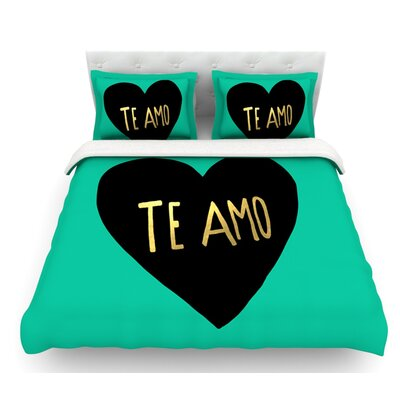 I Love You in Espanol by Leah Flores Te Amo Featherweight Duvet Cover Size: King
