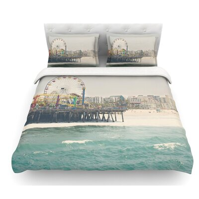 The Pier at Santa Monica by Laura Evans Coastal Featherweight Duvet Cover Size: Queen