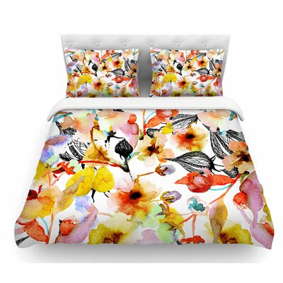 Blossoms by Liz Perez Floral Featherweight Duvet Cover Size: Twin