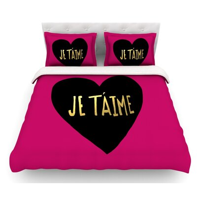 I Love You in Francias by Leah Flores Je Taime Featherweight Duvet Cover Size: Twin