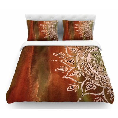 Mandala by Li Zamperini Featherweight Duvet Cover Color: Orange/Brown, Size: King