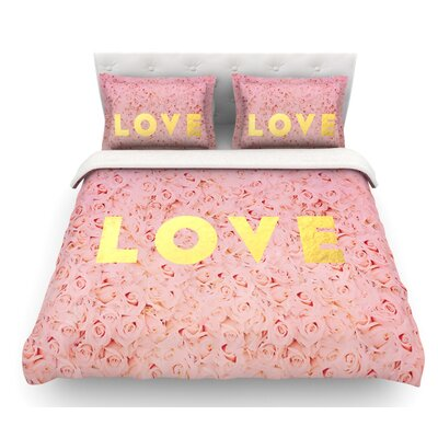 Love Roses by Leah Flores Flowers Featherweight Duvet Cover Size: King