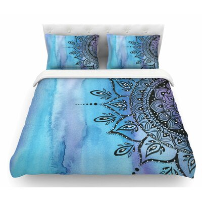 Mandala by Li Zamperini Featherweight Duvet Cover Color: Blue/Aqua/Black, Size: Twin