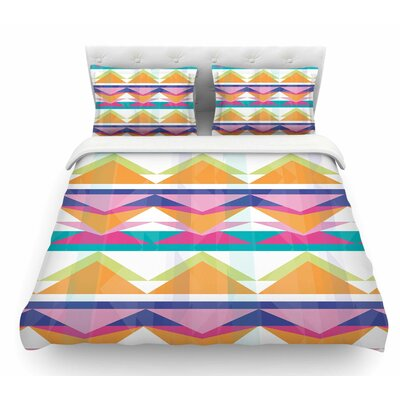 Triangle Waves by Miranda Mol Geometric Featherweight Duvet Cover Size: Queen