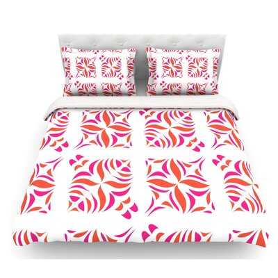 Miranda Mol Featherweight Duvet Cover Color: White/Orange, Size: Twin