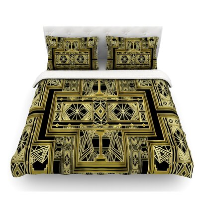 Art Deco by Nika Martinez Featherweight Duvet Cover Color: Gold/Black, Size: King