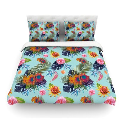 Tropical Floral by Nika Martinez Flowers Featherweight Duvet Cover Size: Queen, Fabric: Lightweight Polyester