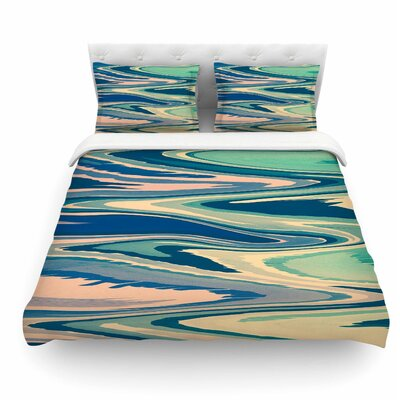 Pastel Beach Waves by Nika Martinez Abstract Featherweight Duvet Cover Size: Queen