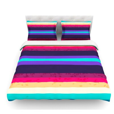Surf Stripes by Nika Martinez Featherweight Duvet Cover Size: King, Fabric: Lightweight Polyester