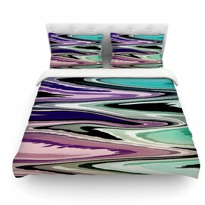 Colorful Beach Waves by Nika Martinez Abstract Featherweight Duvet Cover Size: King