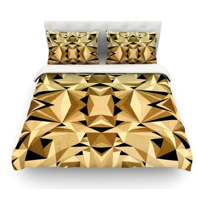 Abstraction by Nika Martinez Featherweight Duvet Cover Color: Gold, Size: Twin