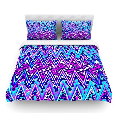 Electric Chevron by Nika Martinez Featherweight Duvet Cover Color: Blue, Size: Twin