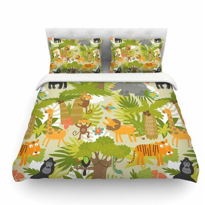 Roar of the Jungle by Petit Griffin Animals Featherweight Duvet Cover Size: Queen