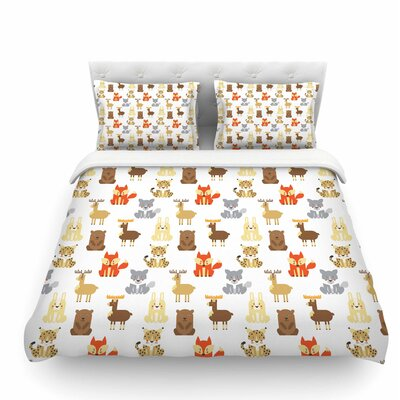 Retro Animals by Petit Griffin Featherweight Duvet Cover Size: Twin