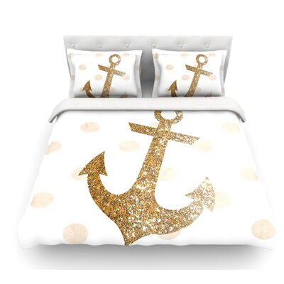 Glitter Anchor by Nika Martinez Featherweight Duvet Cover Size: Queen, Color: Gold, Fabric: Lightweight Polyester