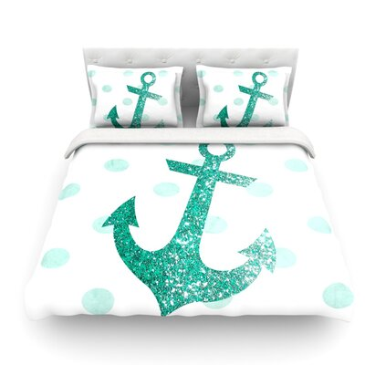 Glitter Anchor by Nika Martinez Featherweight Duvet Cover Color: Teal, Size: Twin, Fabric: Lightweight Polyester