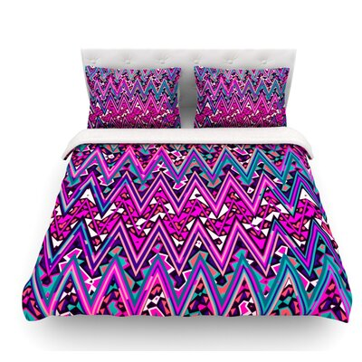 Electric Chevron by Nika Martinez Featherweight Duvet Cover Size: Queen, Color: Pink