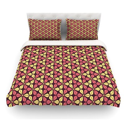 Infinite Flowers by Nick Atkinson Featherweight Duvet Cover Size: King, Color: Red