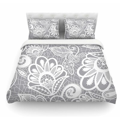 Lace Flower by Petit Griffin Featherweight Duvet Cover Size: King