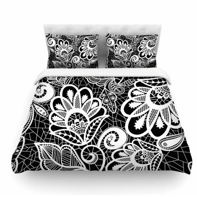 Floral Lace by Petit Griffin Abstract Modern Featherweight Duvet Cover Size: Queen