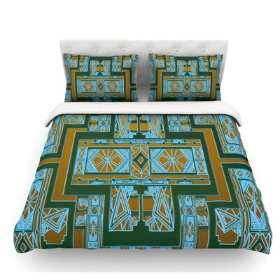 Art Deco by Nika Martinez Featherweight Duvet Cover Color: Green/Blue, Size: King