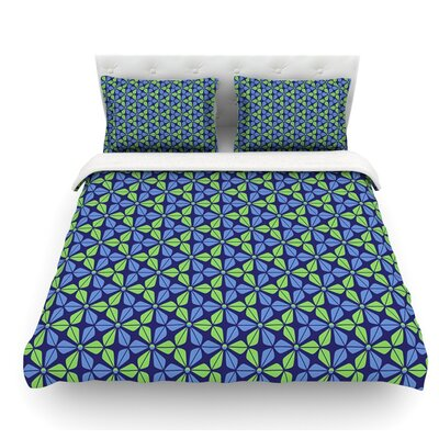Infinite Flowers by Nick Atkinson Featherweight Duvet Cover Color: Blue, Size: Twin