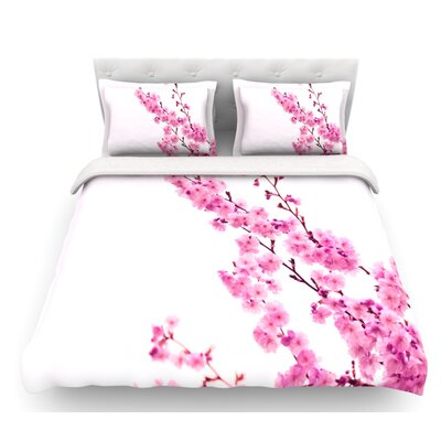 Sakura by Monika Strigel Floral Featherweight Duvet Cover Size: Twin, Color: Pink