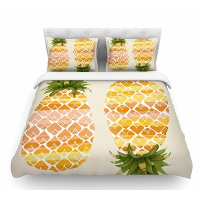 Happy Pineapples by Judith Loske Featherweight Duvet Cover Size: Twin