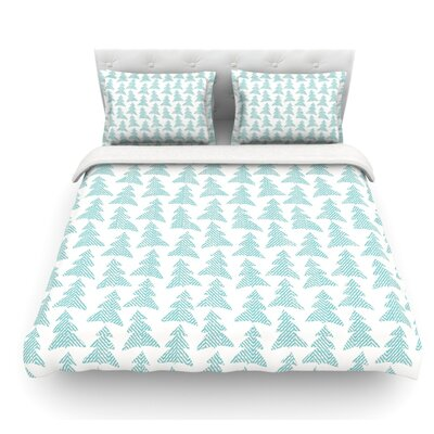 Herringbone Forest by Michelle Drew Featherweight Duvet Cover Color: Blue, Size: King