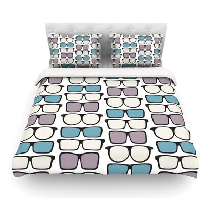 Spectacles Geek Chic by Michelle Drew Featherweight Duvet Cover Size: Full/Queen, Fabric: Woven Polyester