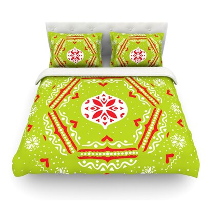 Snow Joy by Miranda Mol Featherweight Duvet Cover Color: Green, Size: King, Fabric: Cotton