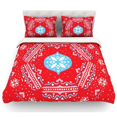 Snow Joy by Miranda Mol Featherweight Duvet Cover Size: Queen, Color: Red, Fabric: Lightweight Polyester