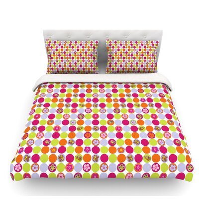 Happy Circles by Julia Grifol Featherweight Duvet Cover Size: Twin