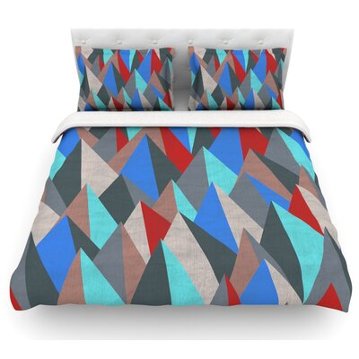 Mountain Peaks by Michelle Drew Featherweight Duvet Cover Size: Twin, Color: Blue/Red