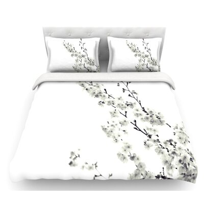 Sakura by Monika Strigel Floral Featherweight Duvet Cover Color: White, Size: Queen