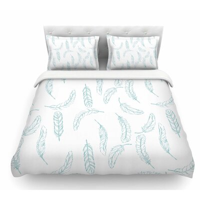 Floating Feathers by Jennifer Rizzo Featherweight Duvet Cover Size: King