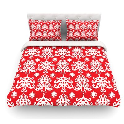 Ornate Trees by Miranda Mol Holiday Featherweight Duvet Cover Color: Red, Size: King