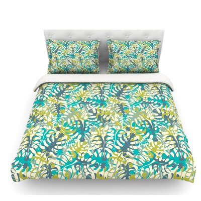 Tropical Leaves by Julia Grifol Featherweight Duvet Cover Size: Queen