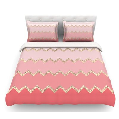 Avalon Ombre by Monika Strigel Featherweight Duvet Cover Size: Queen, Color: Orange/Green