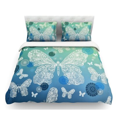 Butterfly Dreams by Monika Strigel Featherweight Duvet Cover Color: Blue/Green, Size: Queen