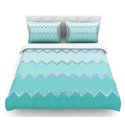Avalon Ombre by Monika Strigel Featherweight Duvet Cover Color: Mint, Size: King