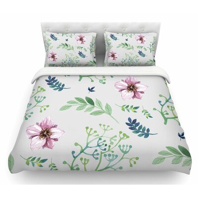 Summer Flower by Louise Featherweight Duvet Cover Size: Queen