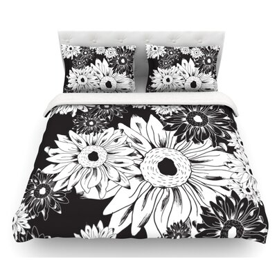 Midnight Florals by Laura Escalante Sunflower Featherweight Duvet Cover Size: King, Fabric: Lightweight Polyester